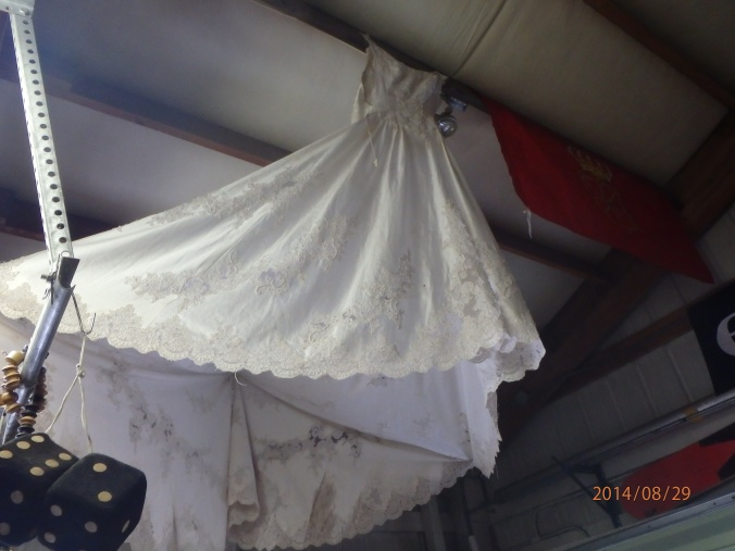THe wedding dress worn by a hiker